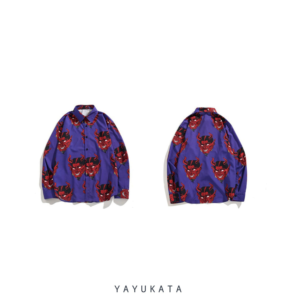 YAYUKATA Shirts VZ2 Devil Print Harajuku Long Sleeve