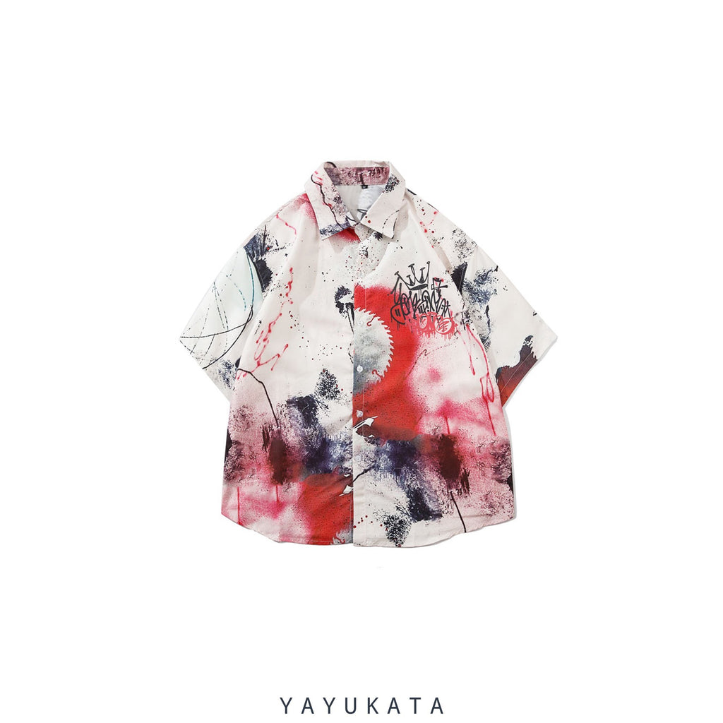 YAYUKATA Shirts White / M YP4 Abstract Harajuku Shirt