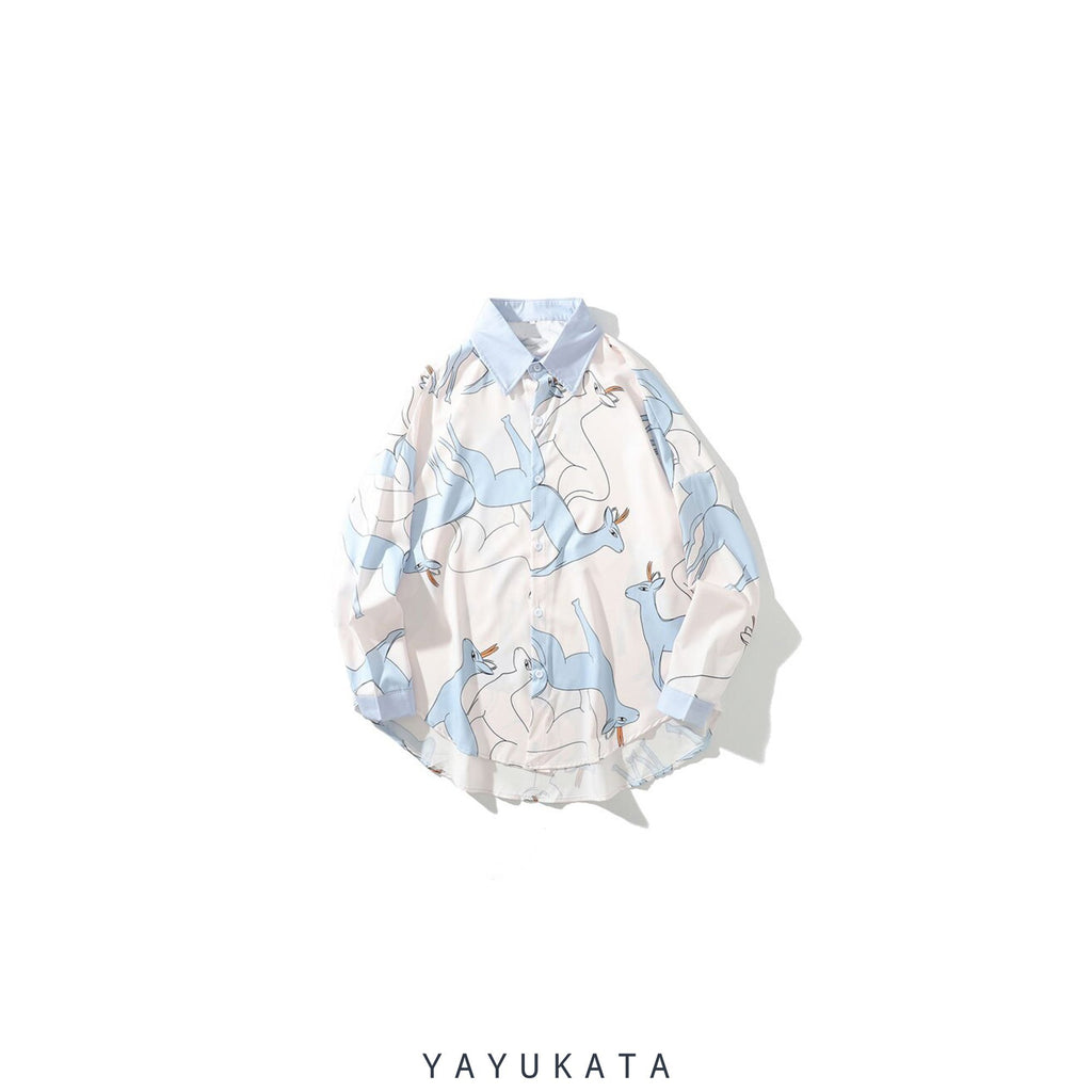 YAYUKATA Shirts XL QX4 Printed Casual Long Sleeve Shirt
