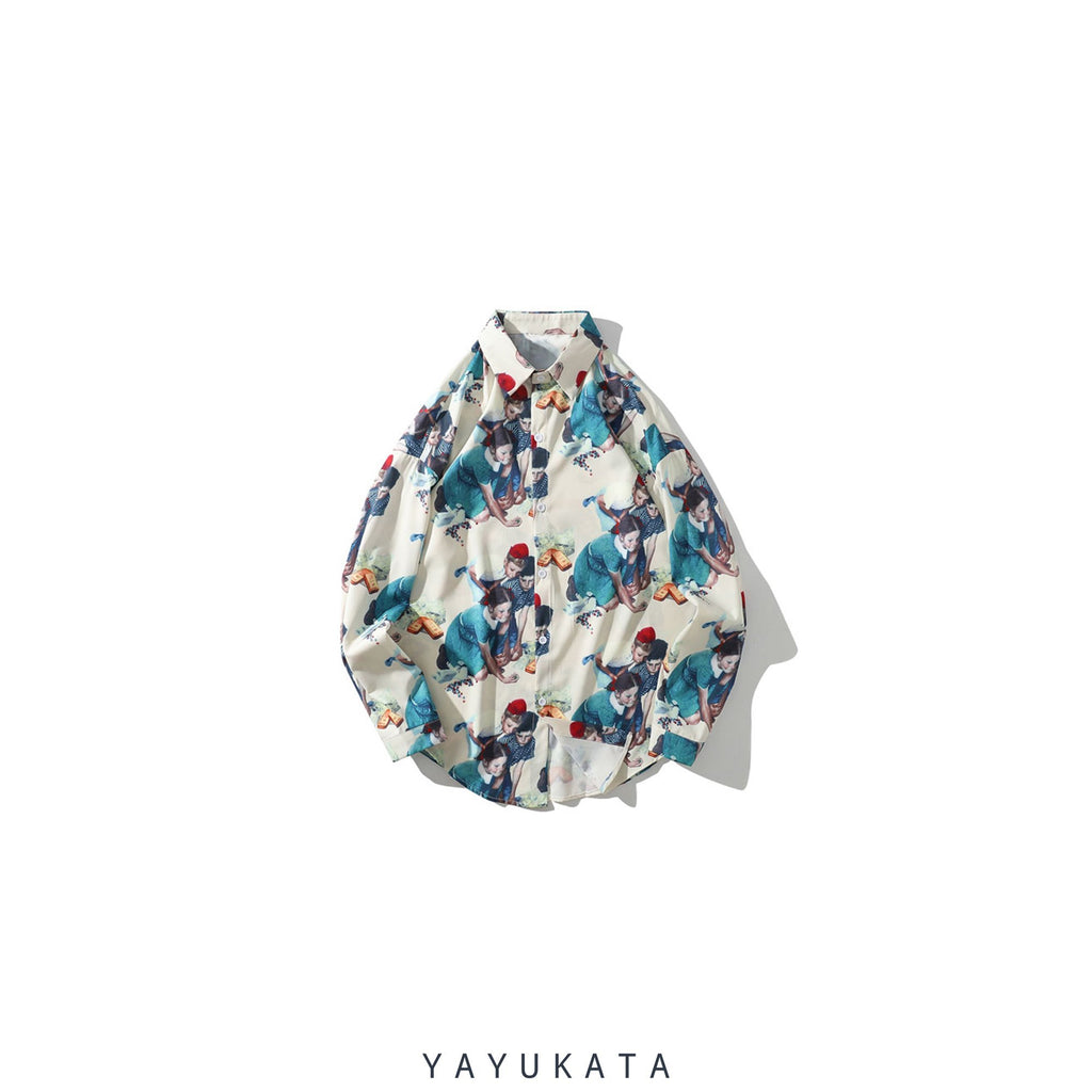 YAYUKATA Shirts XXL QX6 Harajuku Retro Long Sleeve Shirt