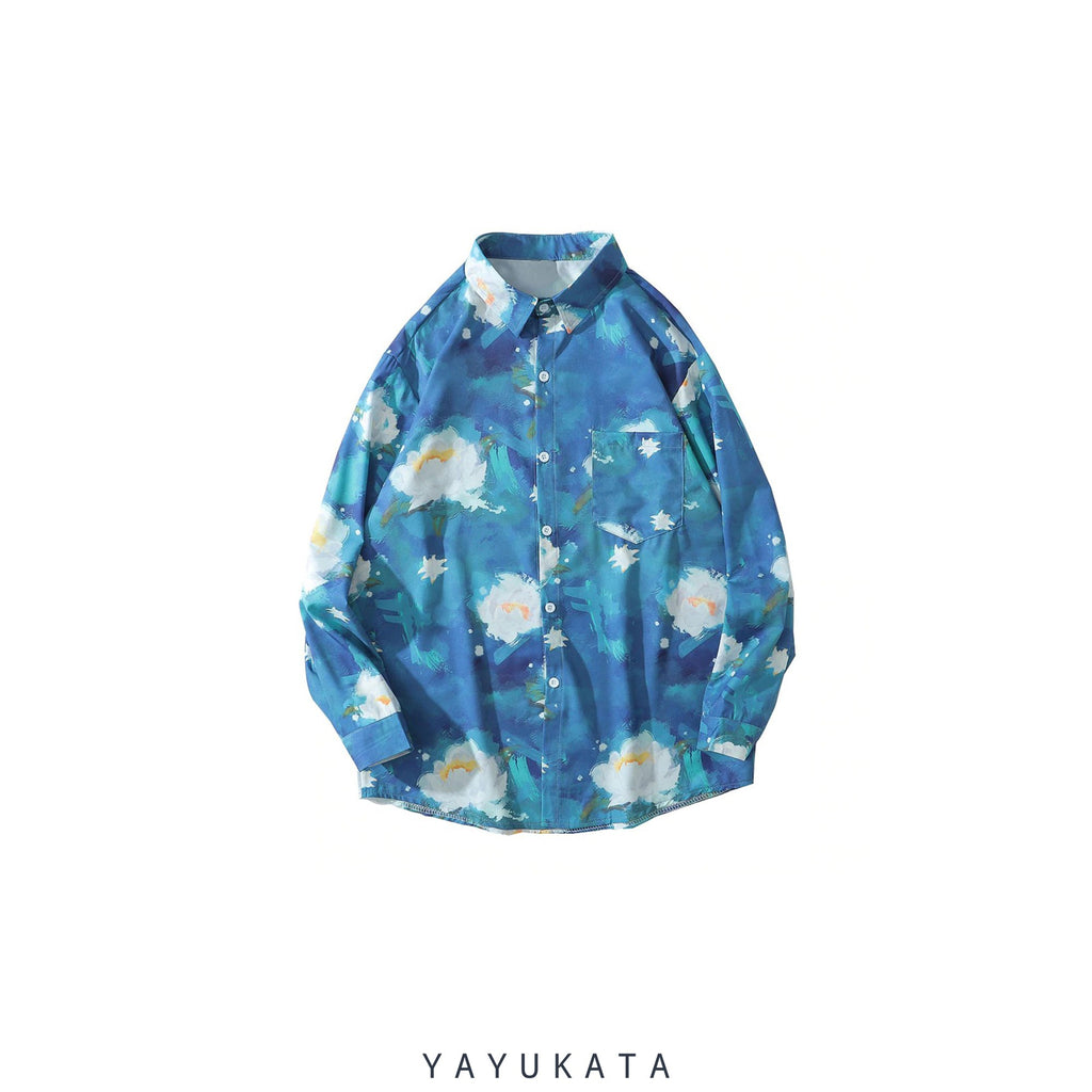 "YAYUKATA Shirts XXL ZH7 ""Lotus Flower"" Print Hawaii Shirt"