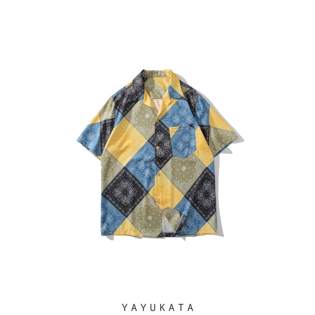 YAYUKATA Shirts YELLOW / XXL QF8 Mosaic Print Summer Shirt