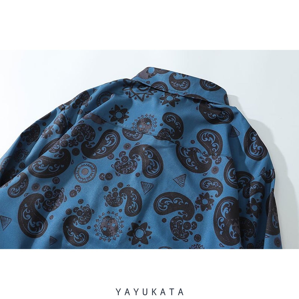 YAYUKATA Shirts ZH2 Bandana Pattern Printed Hawaii Shirt
