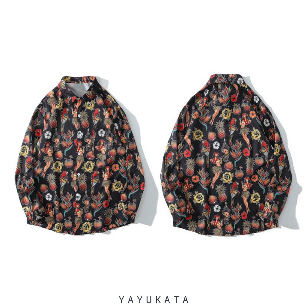 YAYUKATA Shirts ZH3 Hawaiian Pattern Printed Hawaii Shirt