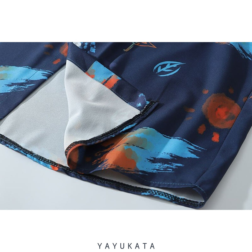 YAYUKATA Shirts ZH5 Graffiti Pattern Printed Hawaii Shirt