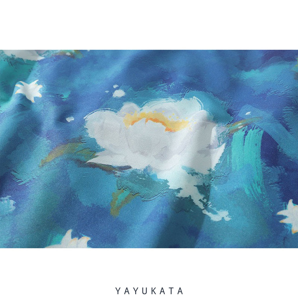 "YAYUKATA Shirts ZH7 ""Lotus Flower"" Print Hawaii Shirt"