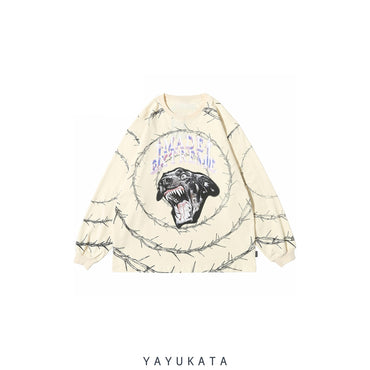 YAYUKATA Sweaters BEIGE / XL XD0 Printed Cotton Long Sleeve
