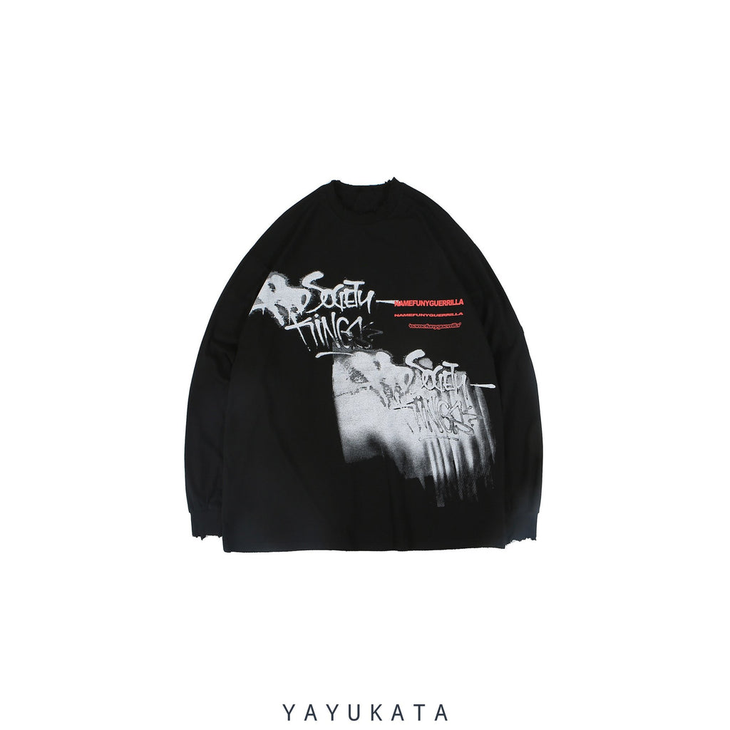 YAYUKATA Sweaters Black / L AD9 Casual Street-Art Sweater