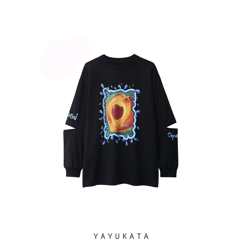 YAYUKATA Sweaters BLACK / L VE3 Fruit Printed Oversize Sweater