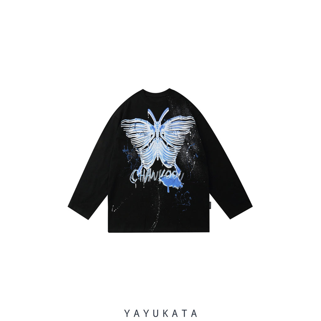 "YAYUKATA Sweaters BLACK / M VC1 ""Skeleton Butterfly"" Print Harajuku Sweater"