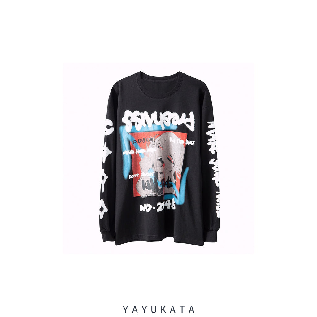 YAYUKATA Sweaters BLACK / M VC8 Japanese Printed Cotton Sweater