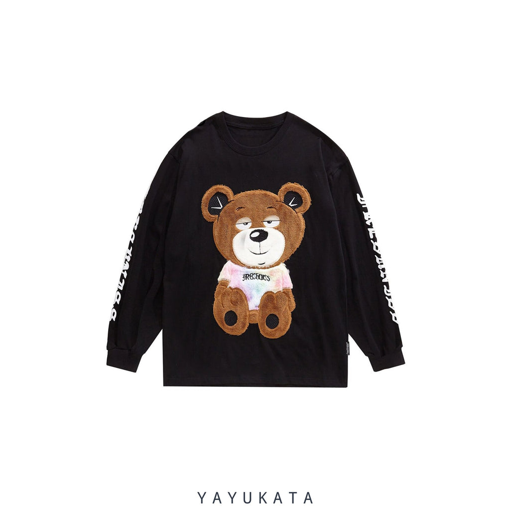 YAYUKATA Sweaters BLACK / M ZM8 Casual Embroidered Teddy Bear Streetwear Sweater