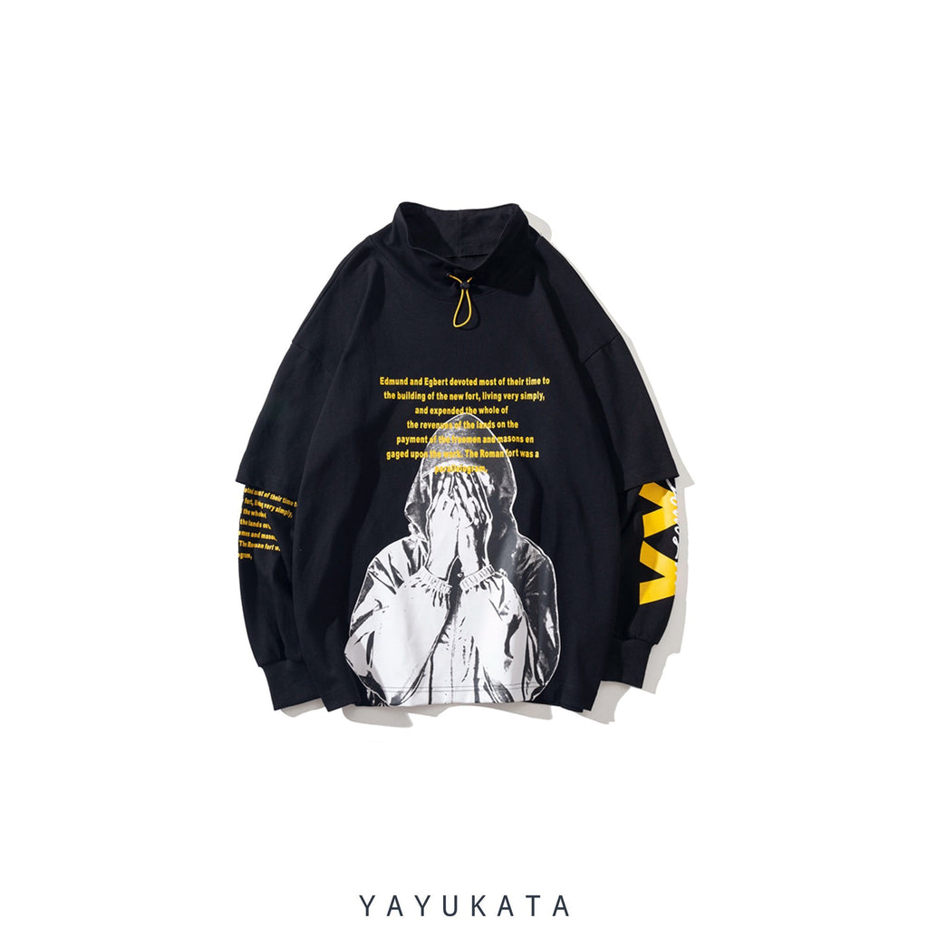YAYUKATA Sweaters Black / XL AG5 Printed Turtleneck Sweater