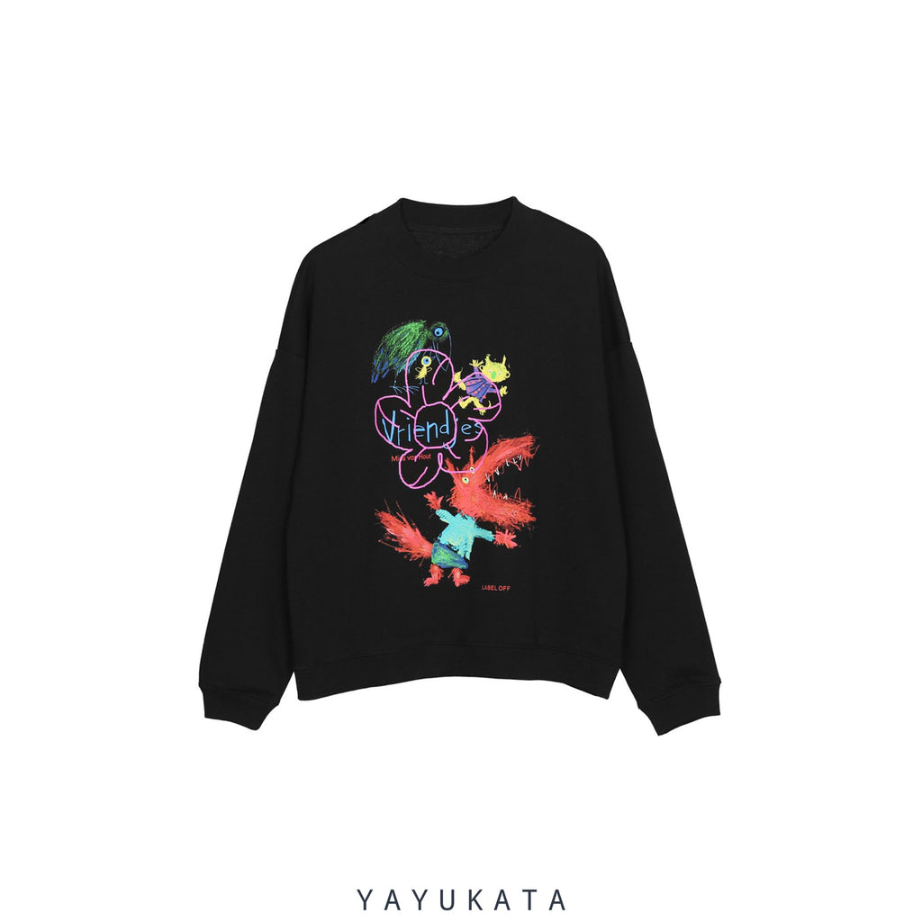 YAYUKATA Sweaters BLACK / XL WL3 Dinosaur Graffiti Print Sweater