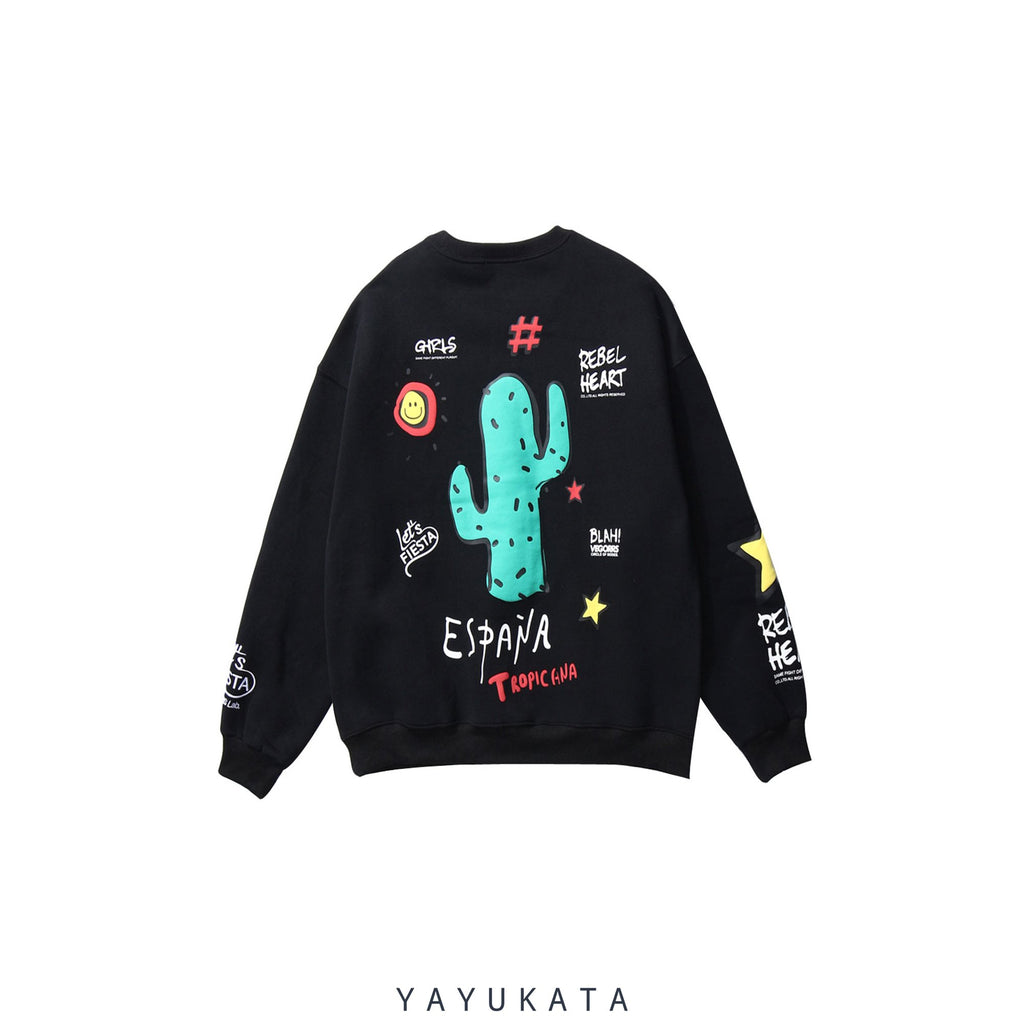 YAYUKATA Sweaters BLACK / XL WP2 Cactus Print Harajuku Sweater