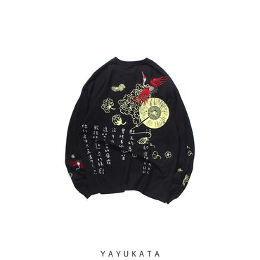 YAYUKATA Sweaters BLACK / XL XB1 Casual Embroidered Cotton Long Sleeve
