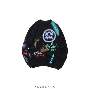 YAYUKATA Sweaters BLACK / XL XB2 Graffiti Print Sweater