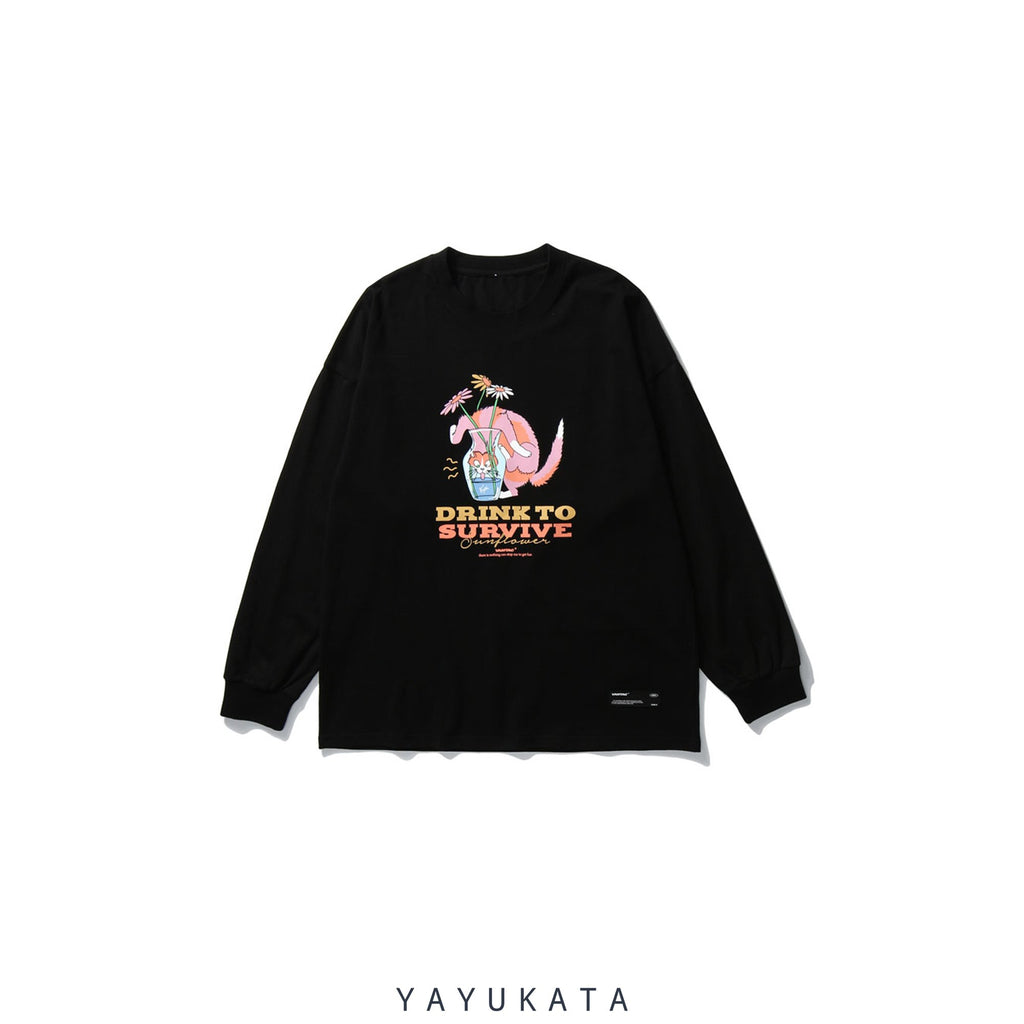 "YAYUKATA Sweaters BLACK / XXL QU9 ""Drink To Survive"" Printed Sweater"