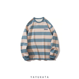YAYUKATA Sweaters BLUE / M ZE9 Casual Color Block Stripes Sweater