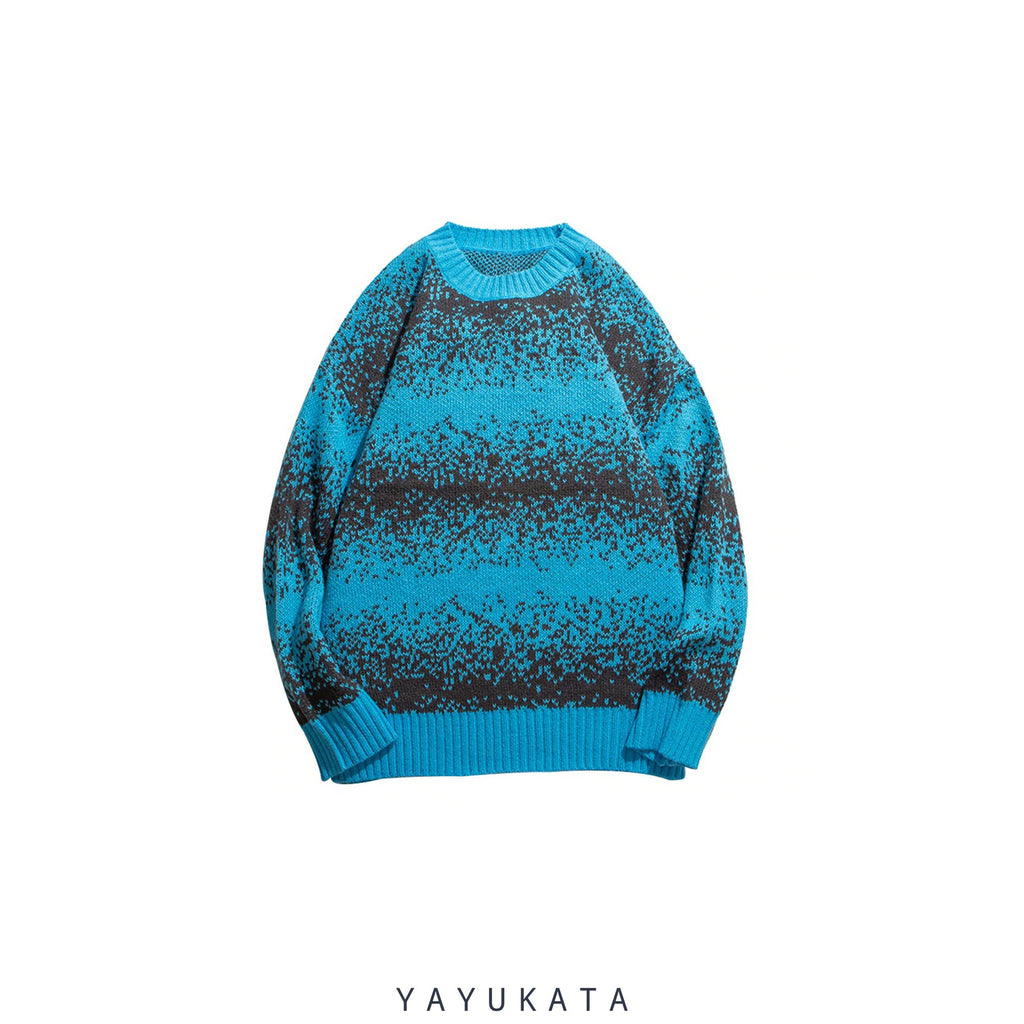 YAYUKATA Sweaters BLUE / XL ZJ6 Striped Knitted Streetwear Sweater
