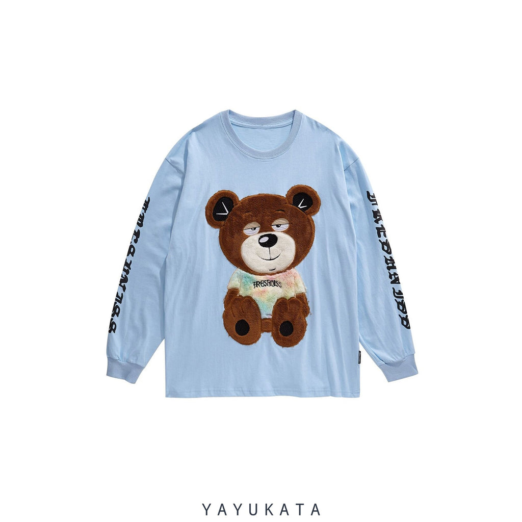 YAYUKATA Sweaters BLUE / XL ZM8 Casual Embroidered Teddy Bear Streetwear Sweater