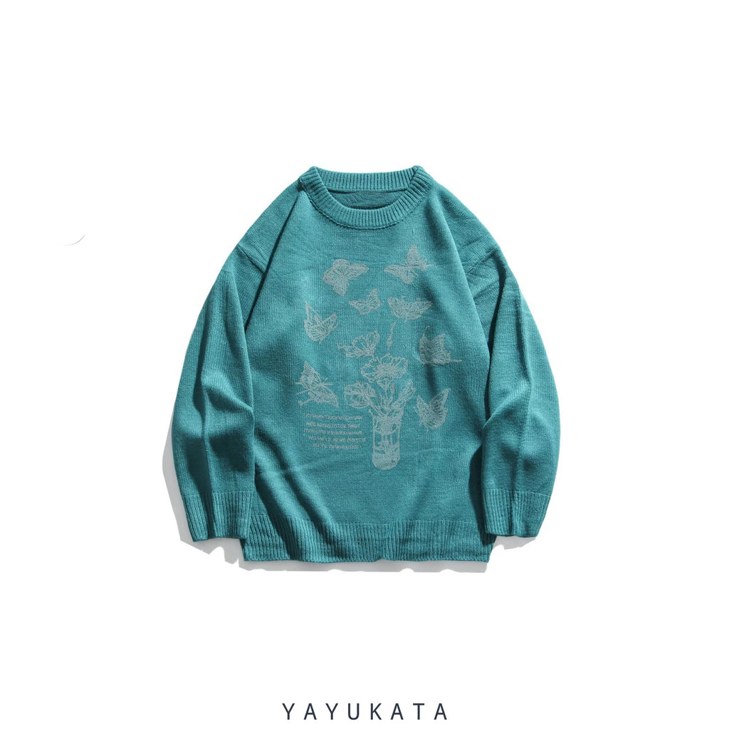 "YAYUKATA Sweaters BLUE / XL ZU2 ""Flowers & Butterfly"" Print Streetwear Sweater"