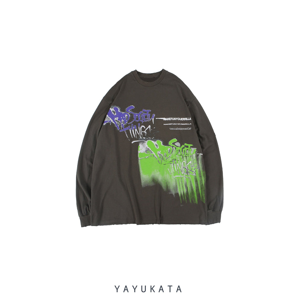 YAYUKATA Sweaters Gray / M AD9 Casual Street-Art Sweater