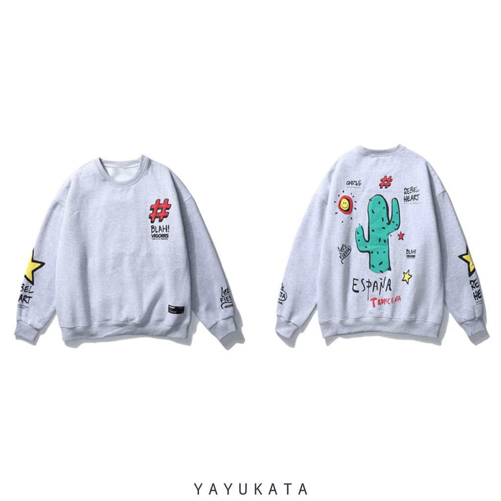 YAYUKATA Sweaters GRAY / XL WP2 Cactus Print Harajuku Sweater