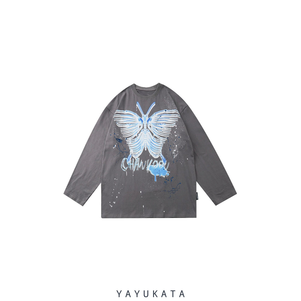 "YAYUKATA Sweaters GRAY / XS VC1 ""Skeleton Butterfly"" Print Harajuku Sweater"