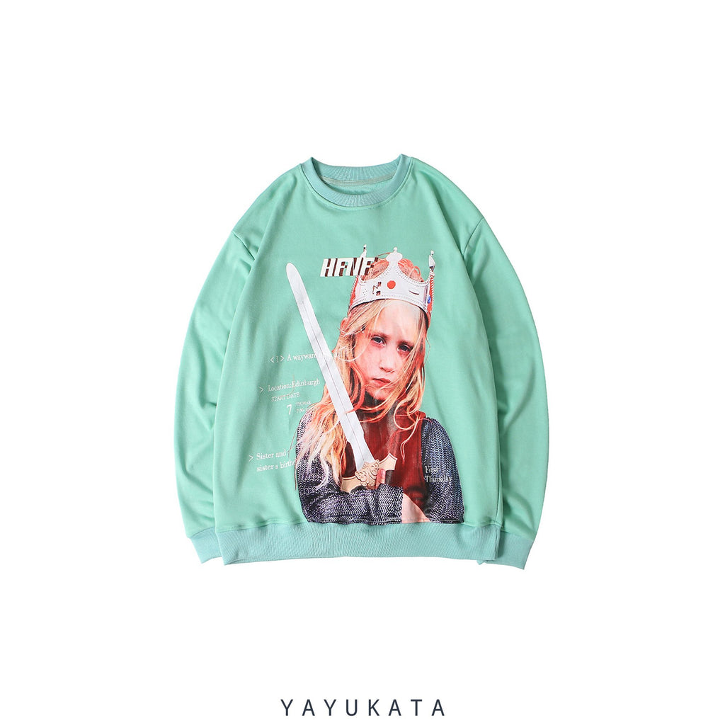 YAYUKATA Sweaters Green / M YF9 Printed Retro Sweater