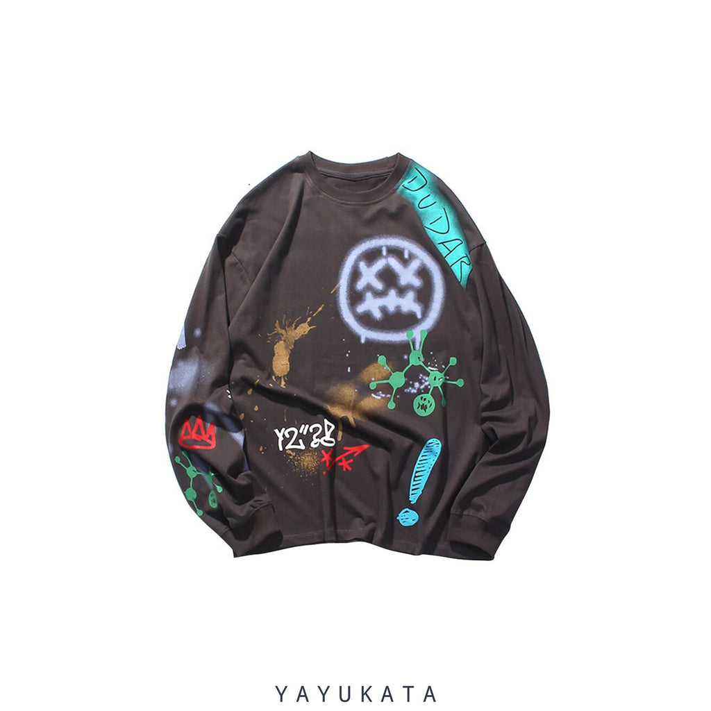 YAYUKATA Sweaters GREY / XL XB2 Graffiti Print Sweater