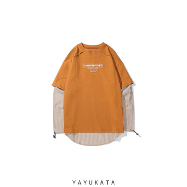 YAYUKATA Sweaters Orange / M YH9 Casual Striped Long Sleeve