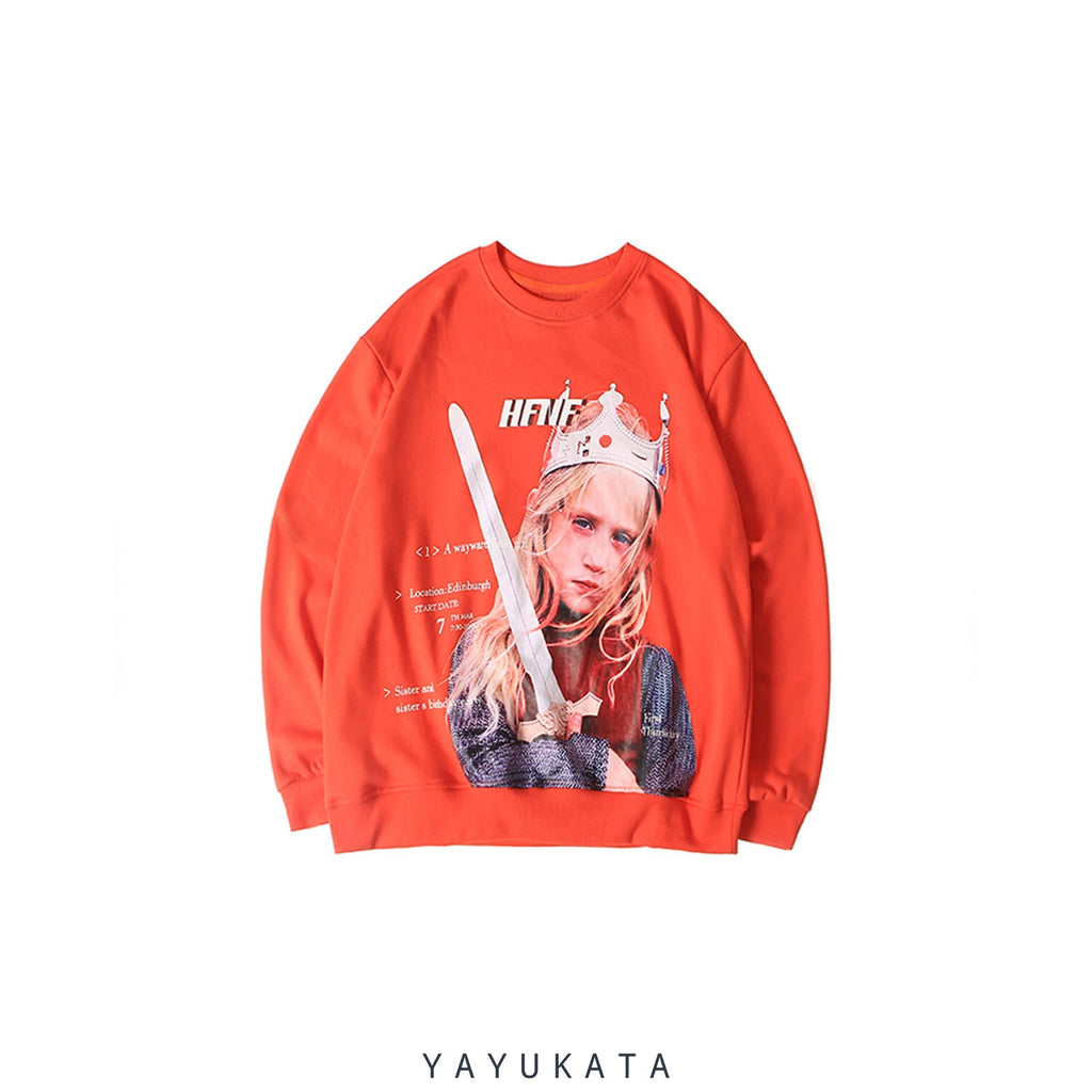 YAYUKATA Sweaters Orange / XXL YF9 Printed Retro Sweater