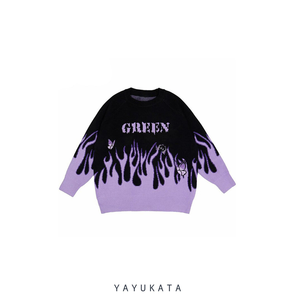 YAYUKATA Sweaters PURPLE / XL MJ0 Flame Print Harajuku Streetwear Sweater