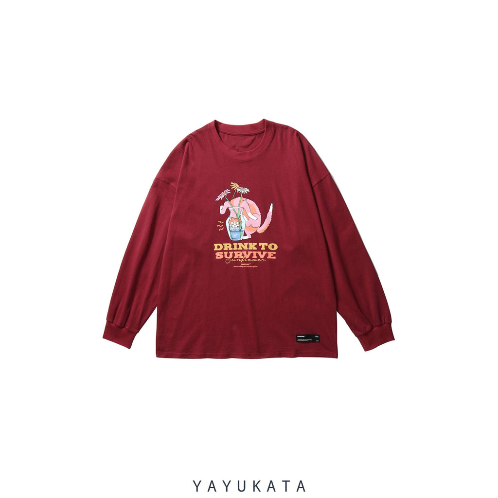 "YAYUKATA Sweaters RED / XXL QU9 ""Drink To Survive"" Printed Sweater"