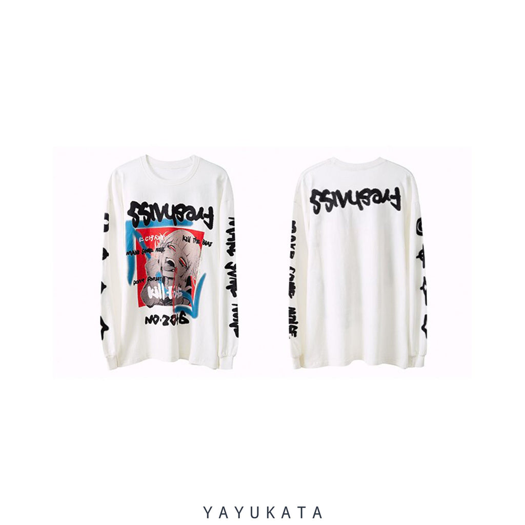 YAYUKATA Sweaters VC8 Japanese Printed Cotton Sweater