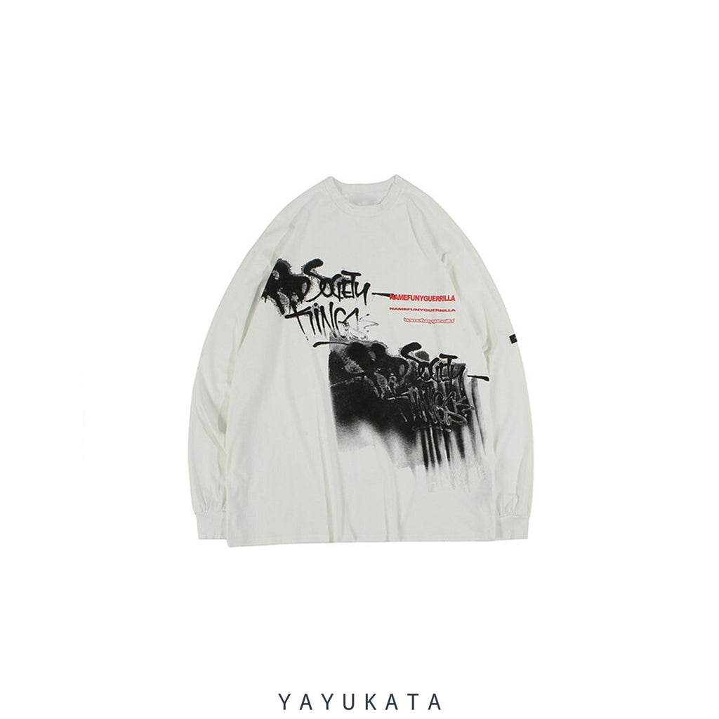 YAYUKATA Sweaters White / M AD9 Casual Street-Art Sweater