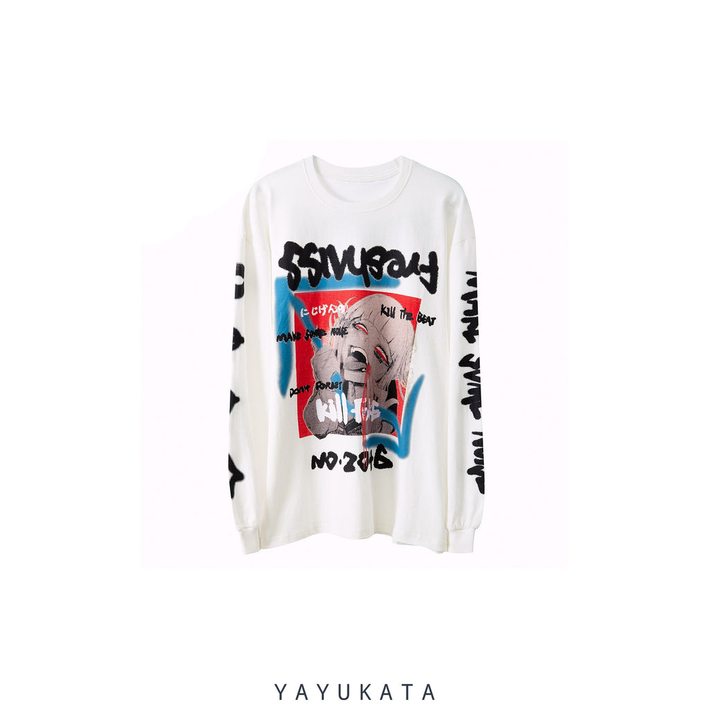 YAYUKATA Sweaters WHITE / M VC8 Japanese Printed Cotton Sweater