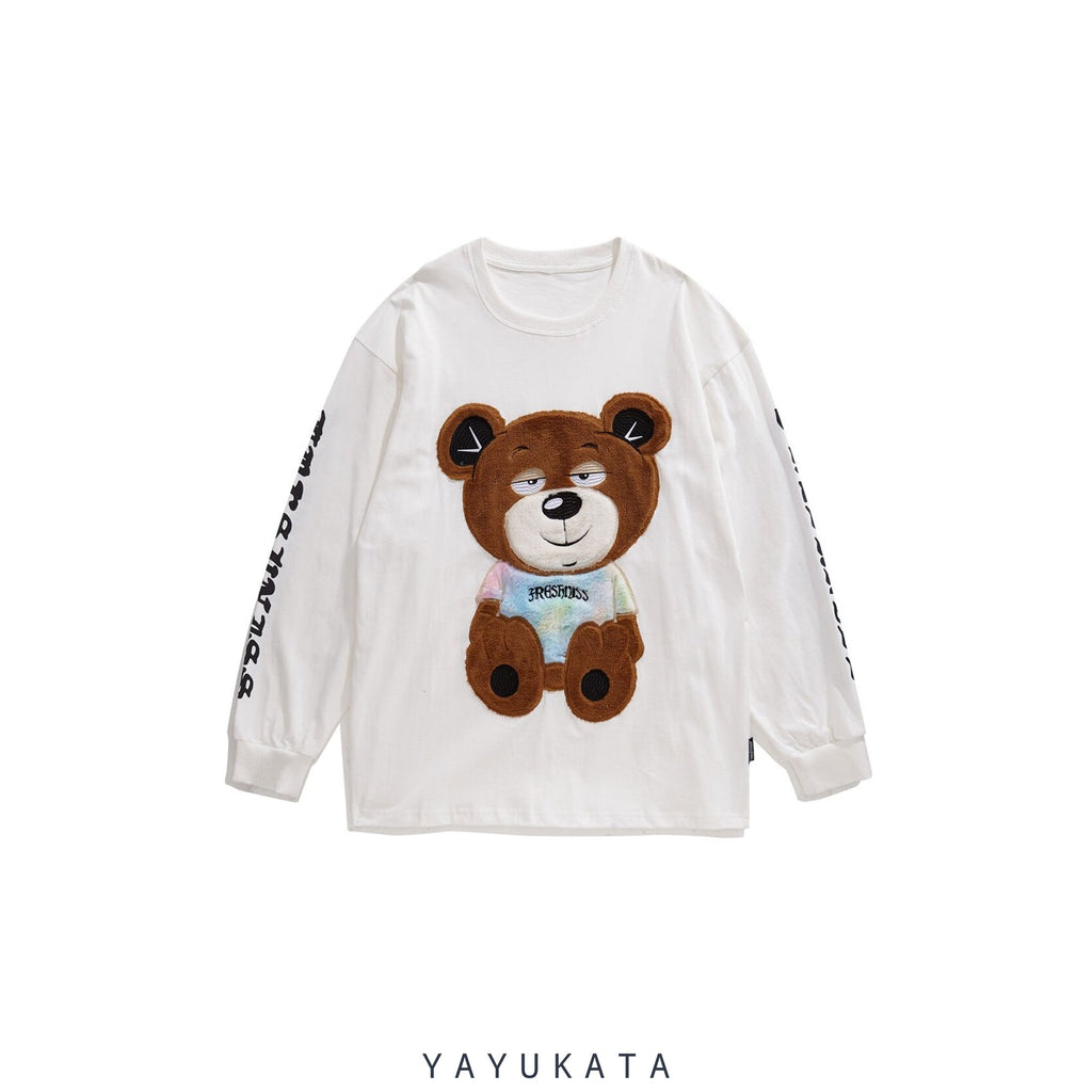 YAYUKATA Sweaters WHITE / M ZM8 Casual Embroidered Teddy Bear Streetwear Sweater