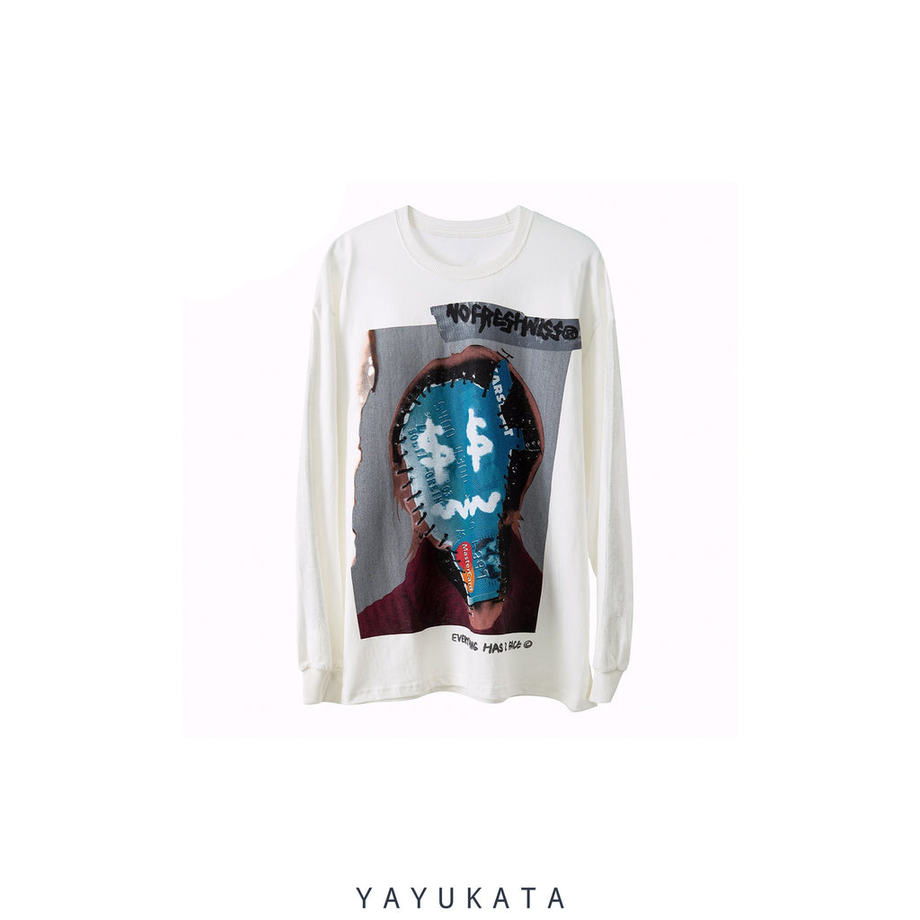 "YAYUKATA Sweaters WHITE / S VC2 Loose ""Weird Face Print"" Sweater"