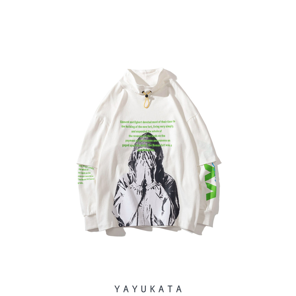 YAYUKATA Sweaters White / XL AG5 Printed Turtleneck Sweater