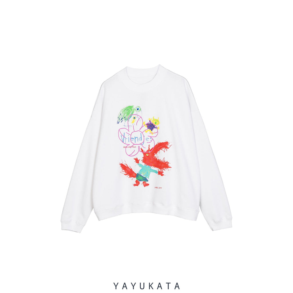 YAYUKATA Sweaters WHITE / XL WL3 Dinosaur Graffiti Print Sweater