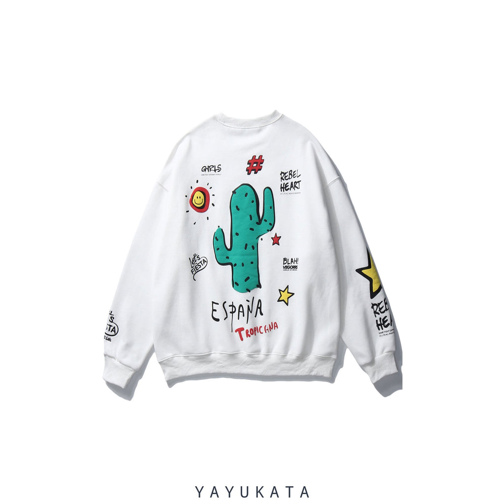 YAYUKATA Sweaters WHITE / XL WP2 Cactus Print Harajuku Sweater
