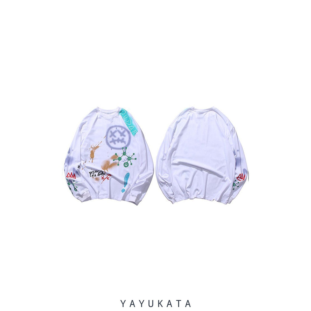 YAYUKATA Sweaters WHITE / XL XB2 Graffiti Print Sweater
