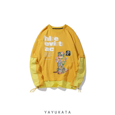 YAYUKATA Sweaters Yellow / M YG9 Printed Retro Sweater