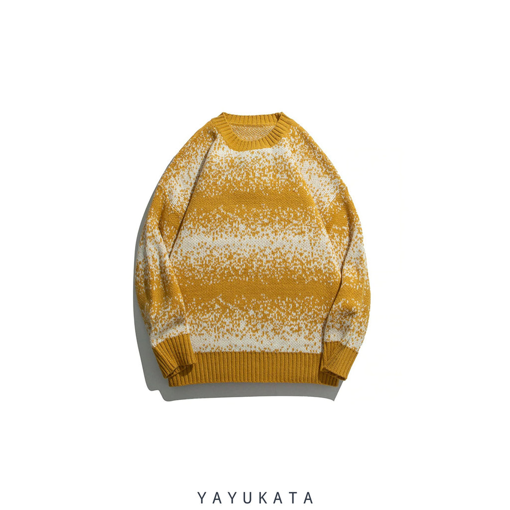 YAYUKATA Sweaters YELLOW / XL ZJ6 Striped Knitted Streetwear Sweater