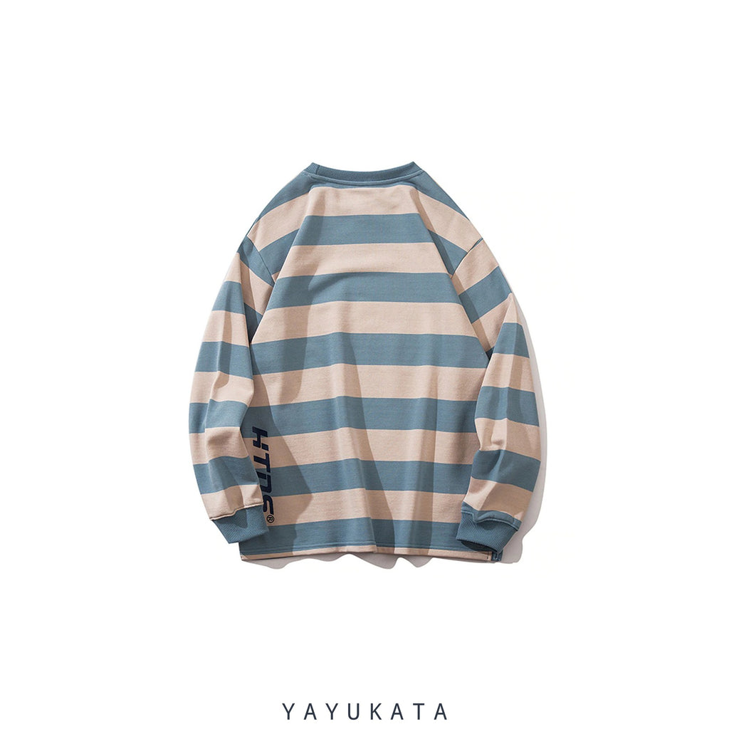 YAYUKATA Sweaters ZE9 Casual Color Block Stripes Sweater