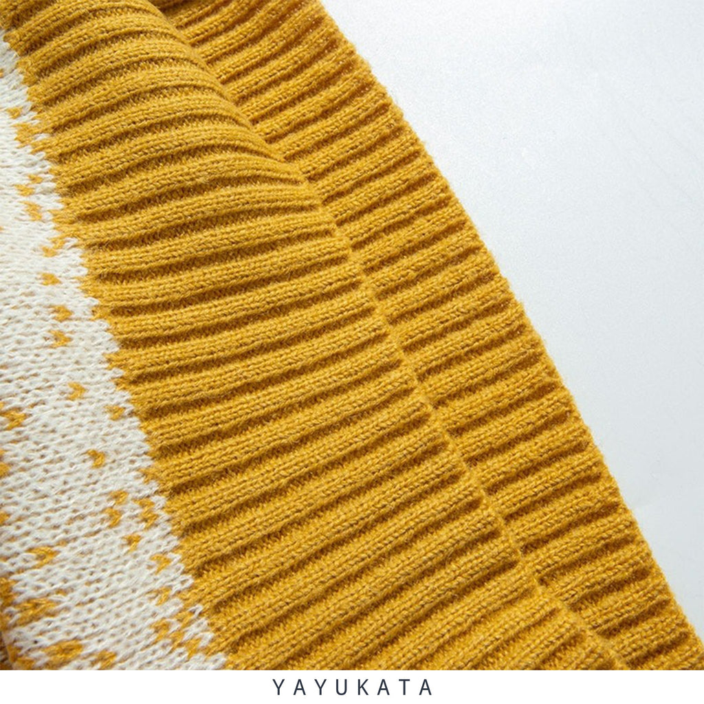 YAYUKATA Sweaters ZJ6 Striped Knitted Streetwear Sweater