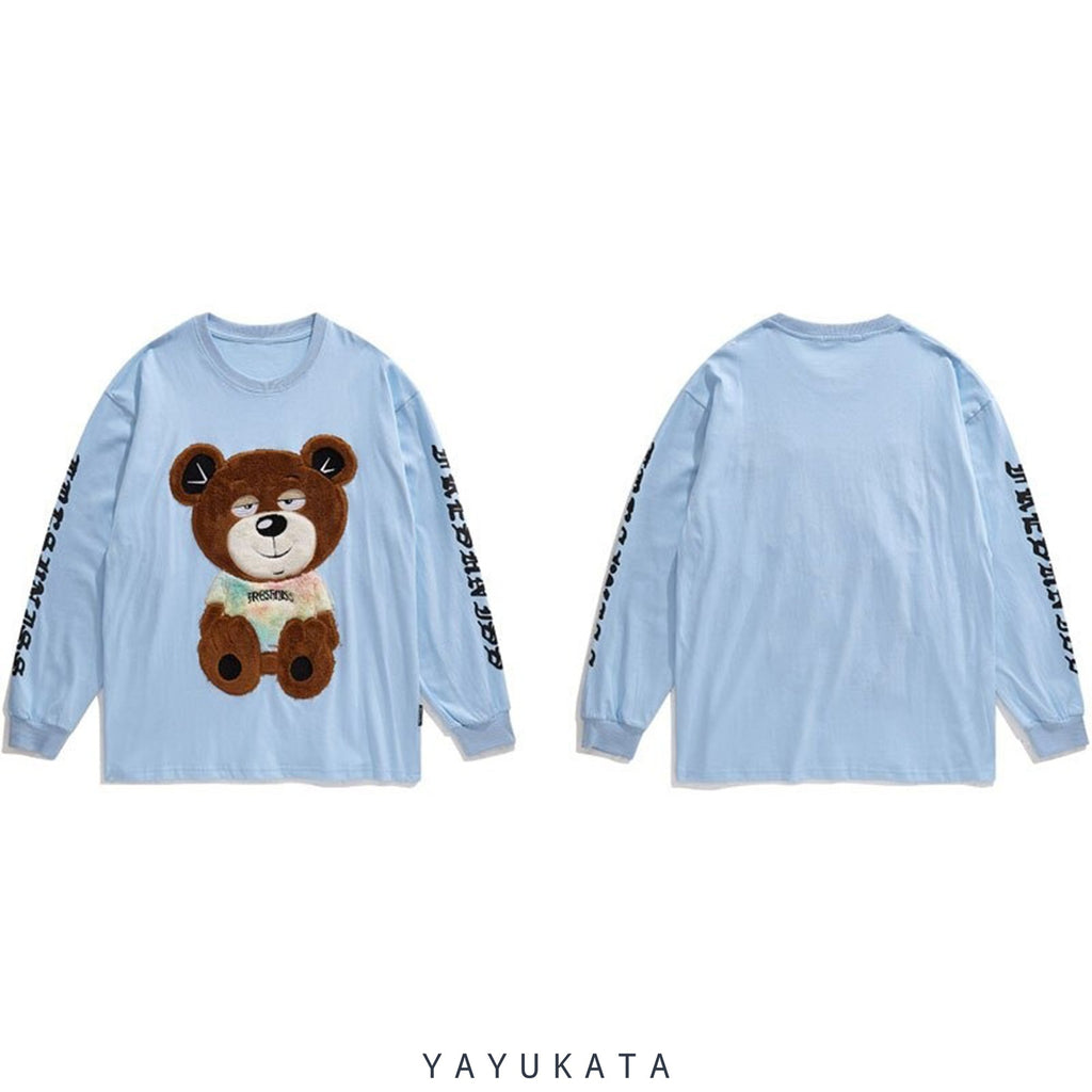 YAYUKATA Sweaters ZM8 Casual Embroidered Teddy Bear Streetwear Sweater