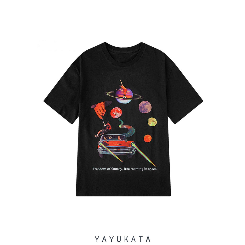 "YAYUKATA Tees BLACK / Asian M VU2 ""Freedom Of Fantasy"" Retro Tee"